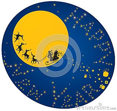Flying reindeers and Santa Claus