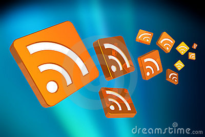 Flying RSS symbols Editorial Stock Photo