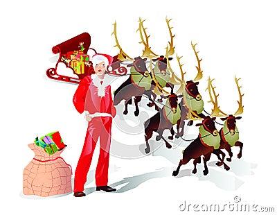 Flying santa sledge with presents