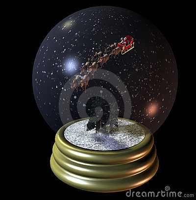 Free Flying Santa Snow Globe Stock Photos - 362383