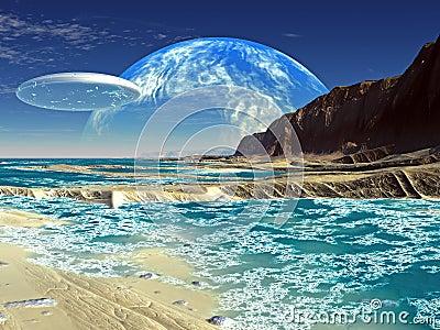 Flying Saucer Ship over Alien Sea Shore