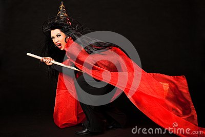 Flying screaming witch broom