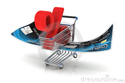 Flying shopping cart with percent sign
