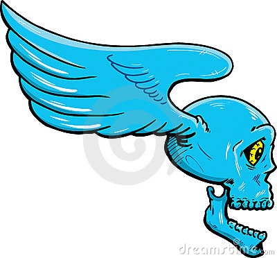 Flying skull with wings vector illustration