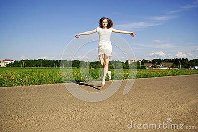 Flying smiling girl
