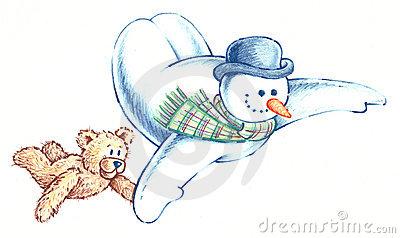 Flying Snowman and his Bear Friend