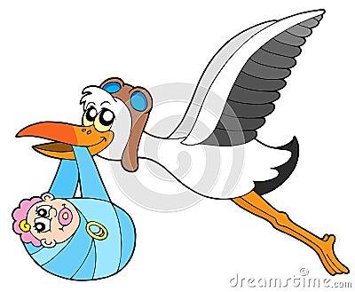 Flying stork delivering baby