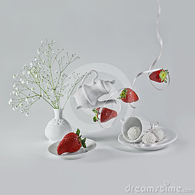 Flying strawberries with white ribbon.