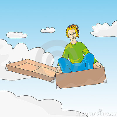 Flying suitcase (vector)