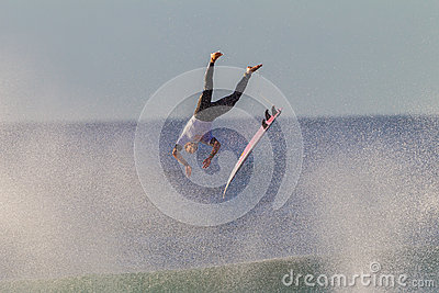 Flying Surfer Board Exit Editorial Photography