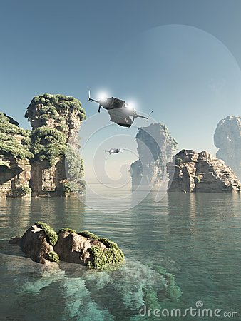 Free Flying Through The Sea Stacks Royalty Free Stock Photos - 41699808