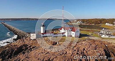 Eastern Point Lighthouse, Cape Ann, MA, USA stock video