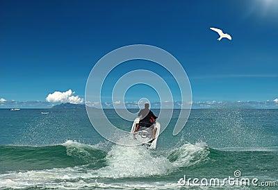 Flying to sun. Jet ski & bird.