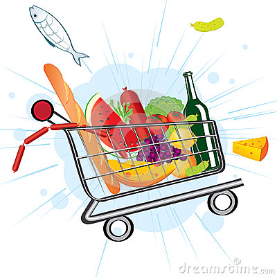Flying trolley at the supermarket