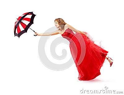Flying umbrella girl