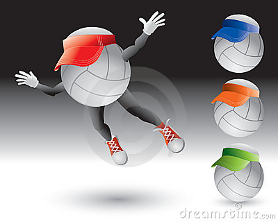 Flying volleyball cartoon character with visor
