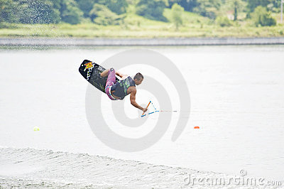 Flying Wakeboarder Editorial Stock Photo