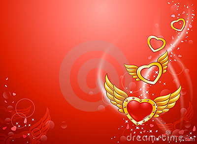 Flying winged love hearts
