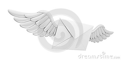 Flying Wings Mail Envelope Stock Photo