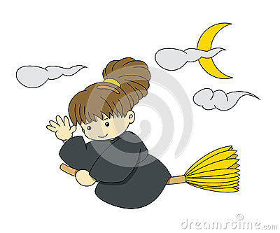 Flying Witch with broom Stock Photo