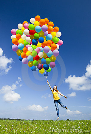 Free Flying With Balloons Royalty Free Stock Image - 19709646