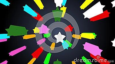 Flyttande färgrikt stjärnautrymme snedvrider rörelsepartikelbakgrund på mörkt - den blåa lutningen lager videofilmer