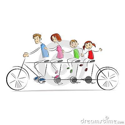 Fmaily enjoying Bicycle Ride