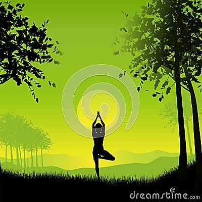 Fêmea no pose da ioga