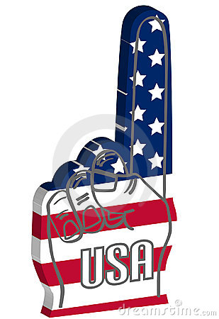 Foam finger with USA american flag