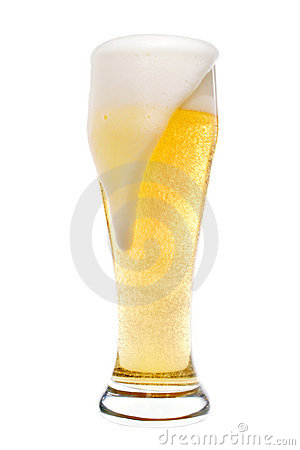 Foaming glass of beer