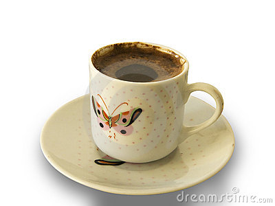 Foamy Turkish Coffee Cup With Butterfly Pattern