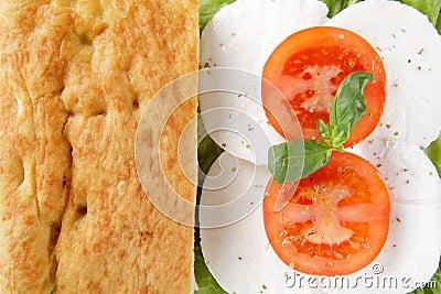 Focaccia whit caprese mozzarella end tomato