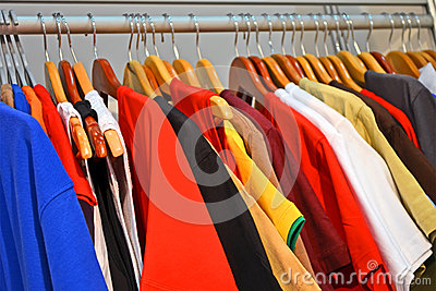 Shirt line diversity in cloak-room, fashion industry,