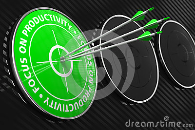 Focus On Productivity Slogan Green Target Royalty Free