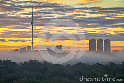 Fog at autumn city sunrise