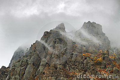 Fog autumn mountains