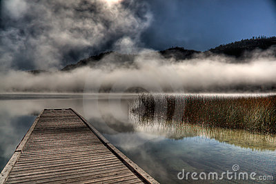 Fog Hovering Over Lake