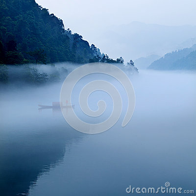 Fog  river landscape in morning