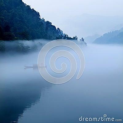 Fog  river landscape in morning