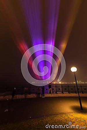 Fog shrouds  Circular Quay in Sydney. Editorial Stock Image