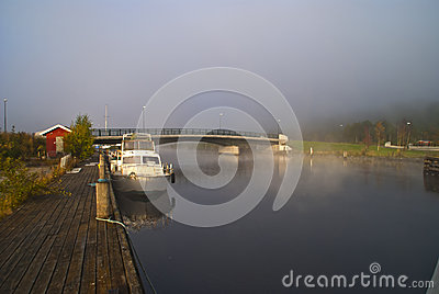 Fog and smoke in the river