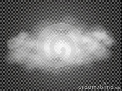 Fog or smoke transparent special effect. White vector cloudiness, mist or smog background. Vector illustration Vector Illustration