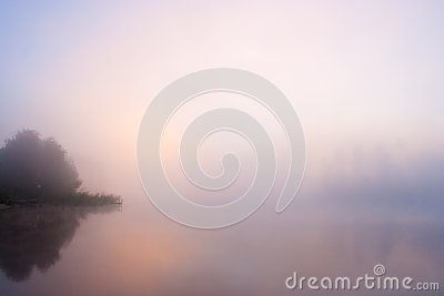 Lake Seliger: fog sunrise