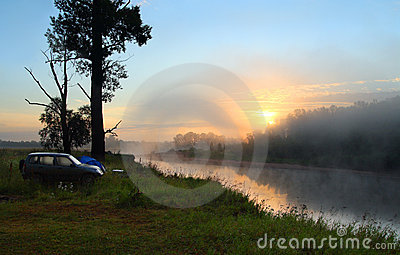 Fog sunrise on the river