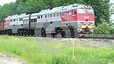 Foggy dag De beweging van de locomotief met auto's op de rails in Rusland De trein gaat naar rechts stock footage