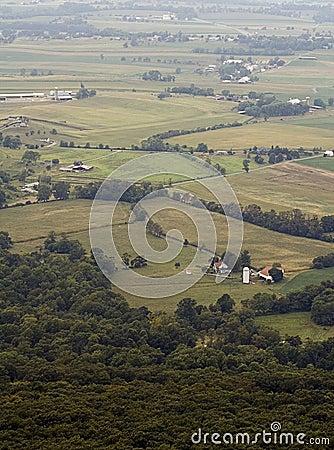 Foggy Farms and Fields Maryland No Sky