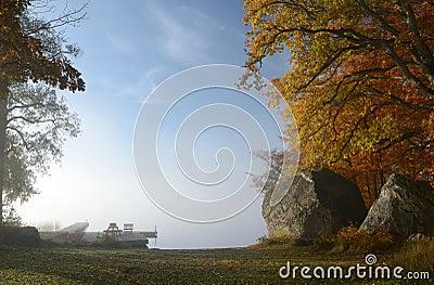 Foggy lake autumn s landscape