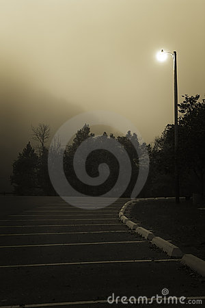 Foggy Midnight Parking Lot