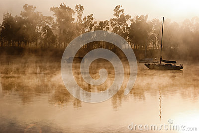 Foggy morning on a river