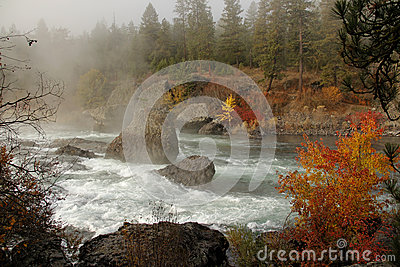 Foggy morning on spokane river